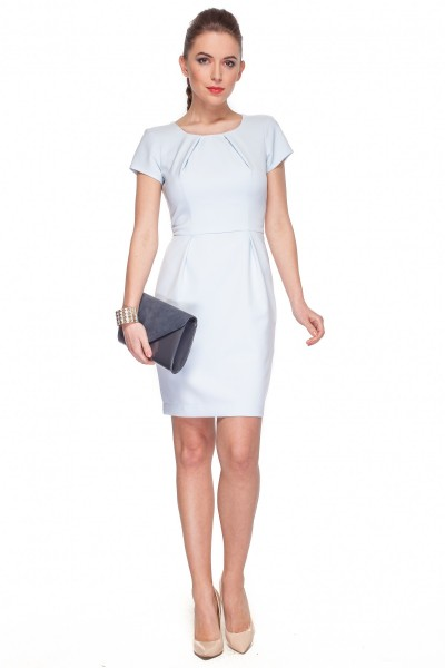 Błękitna-sukienka-z-zakładkami-De-Facto