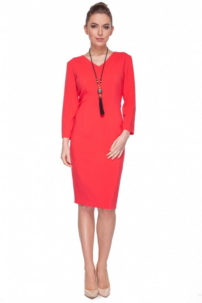 79e9b82d Czerwona sukienka z długim rękawem – Bialcon