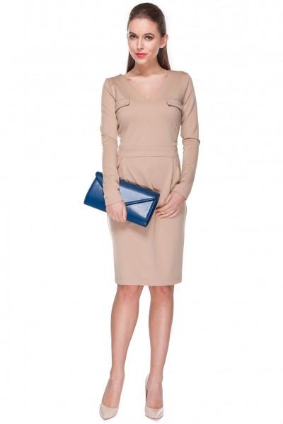 Klasyczna-beżowa-sukienka-w-stylu-business-Darksus