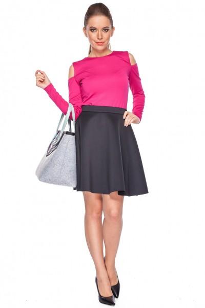 Spódnica-rozkloszowana-w-kolorze-czarnym-De-Facto