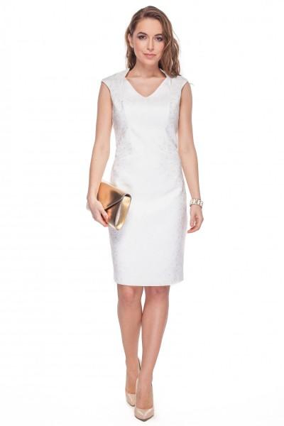 Sukienka-écru-z-wytłaczanym-wzorem-w-róże-De-Facto