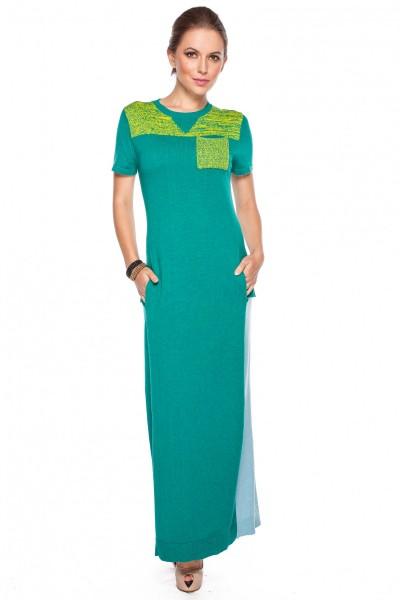 Sukienka-w-zielonym-kolorze-z-kieszonką-Confashion